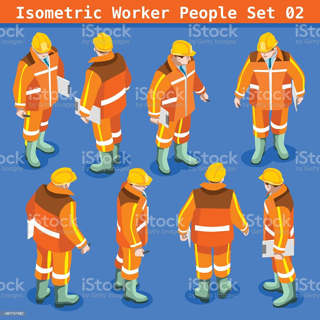 Construction 02 People Isometric vector art illustration