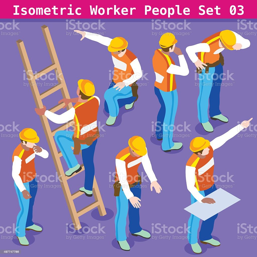Construction 03 People Isometric vector art illustration