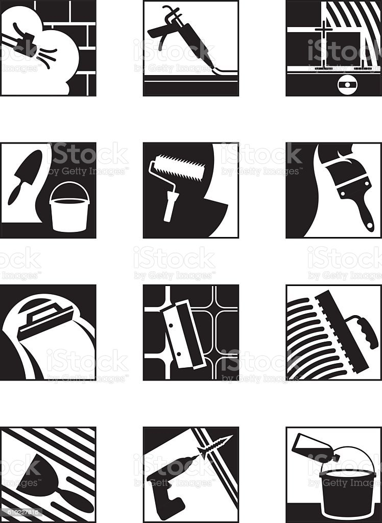 Construction adhesives and mixtures vector art illustration