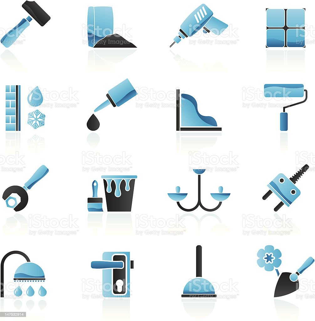 Construction and building equipment Icons royalty-free stock vector art