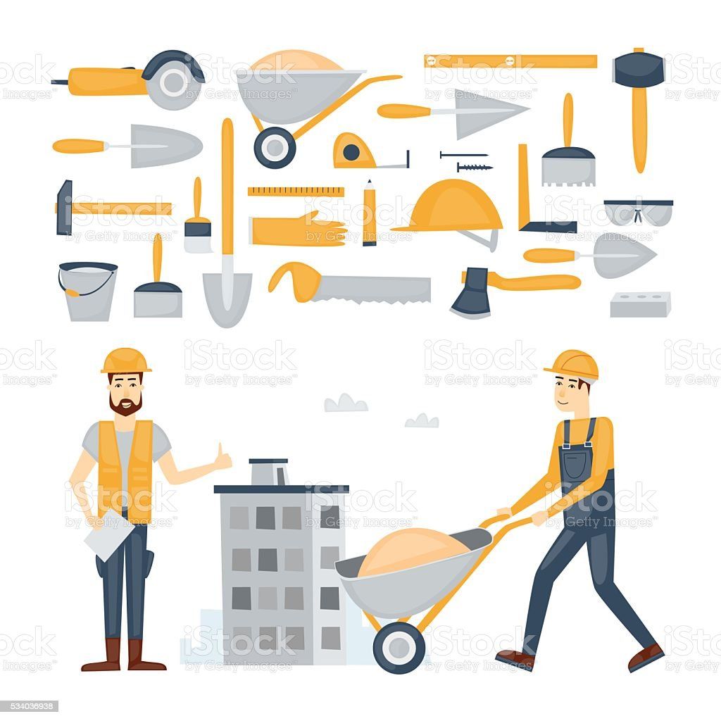 construction and building repairs worker or builder job characters construction and building repairs worker or builder job characters royalty