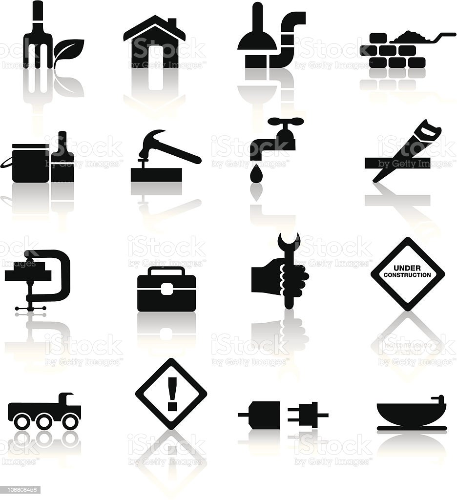 construction and diy icon set vector art illustration