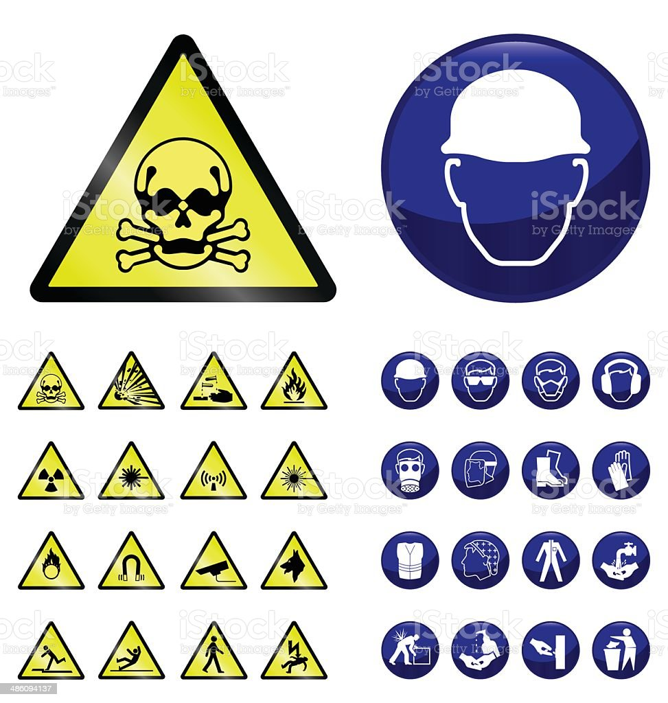 Construction and hazard signs vector art illustration