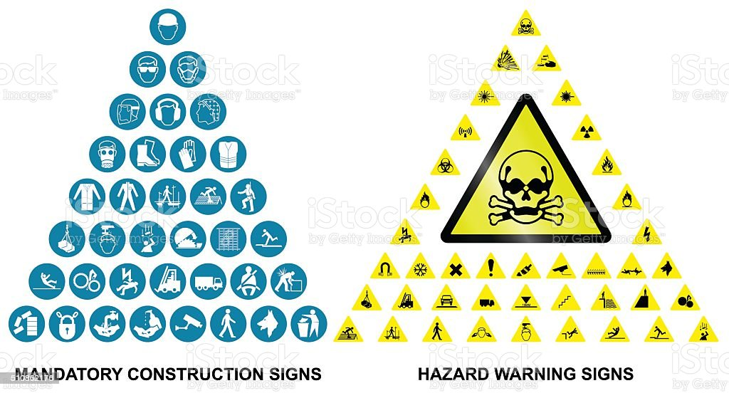 Construction and hazard warning icon collection vector art illustration