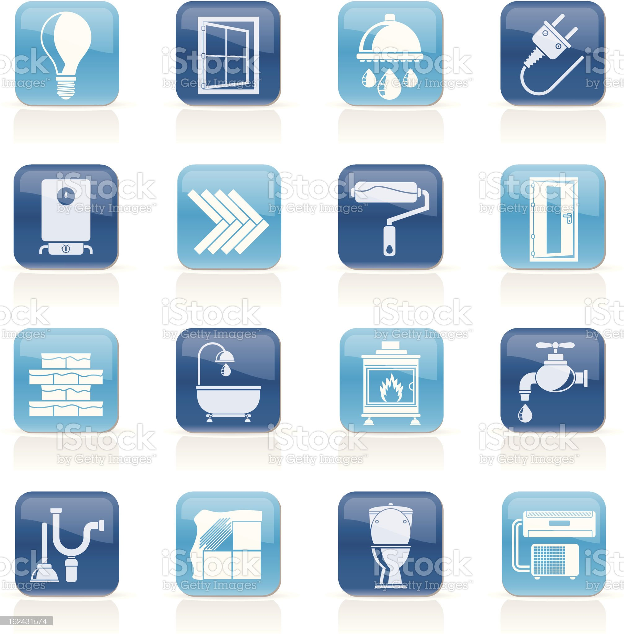 Construction and home renovation icons royalty-free stock vector art