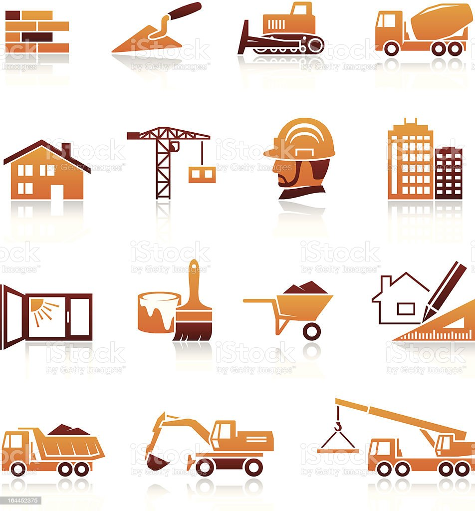 Construction and real estate icons vector art illustration