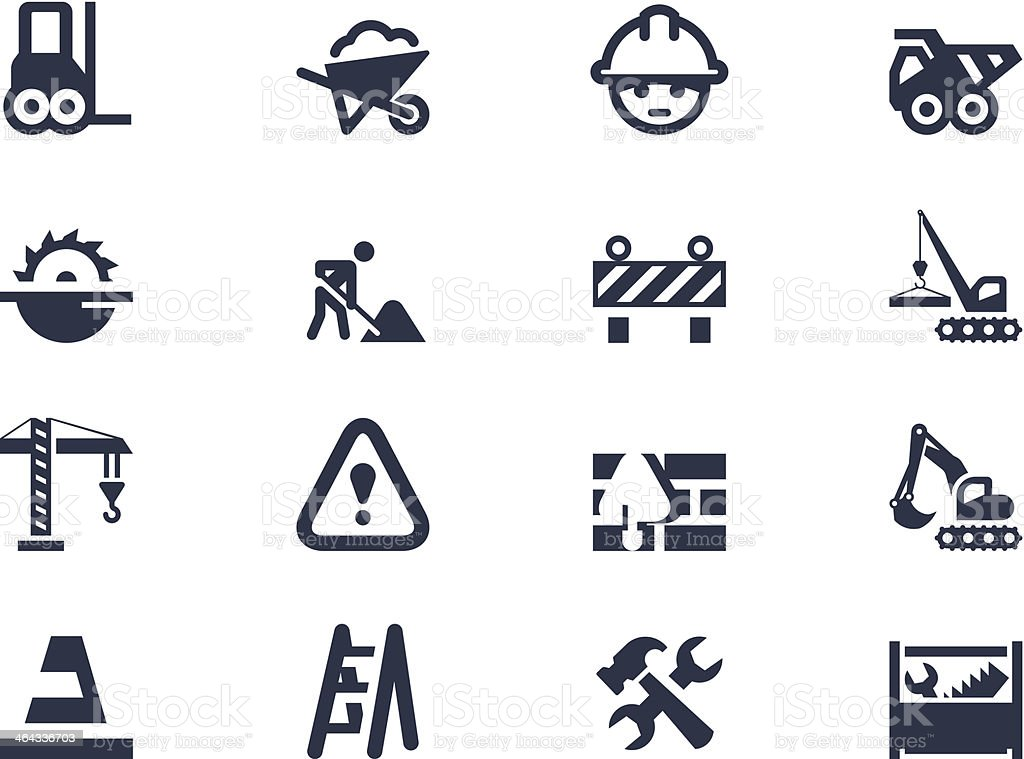 Construction and renovation icons vector art illustration