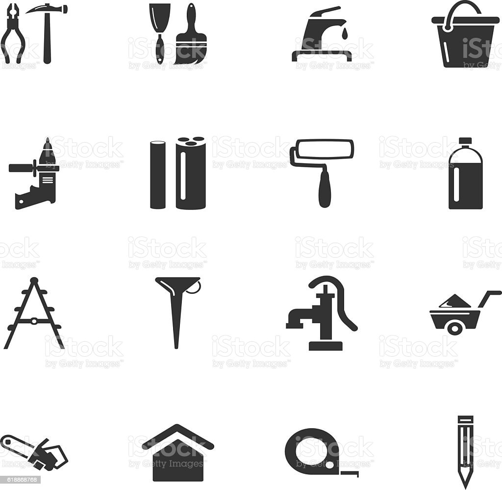 Construction and repair icons set vector art illustration