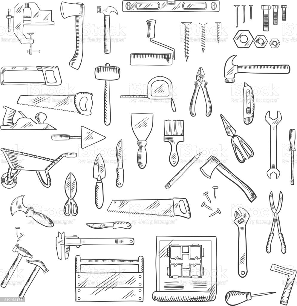 Construction and repair tools or equipment vector art illustration