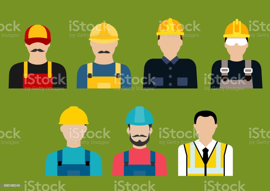 Construction and service professions avatars vector art illustration