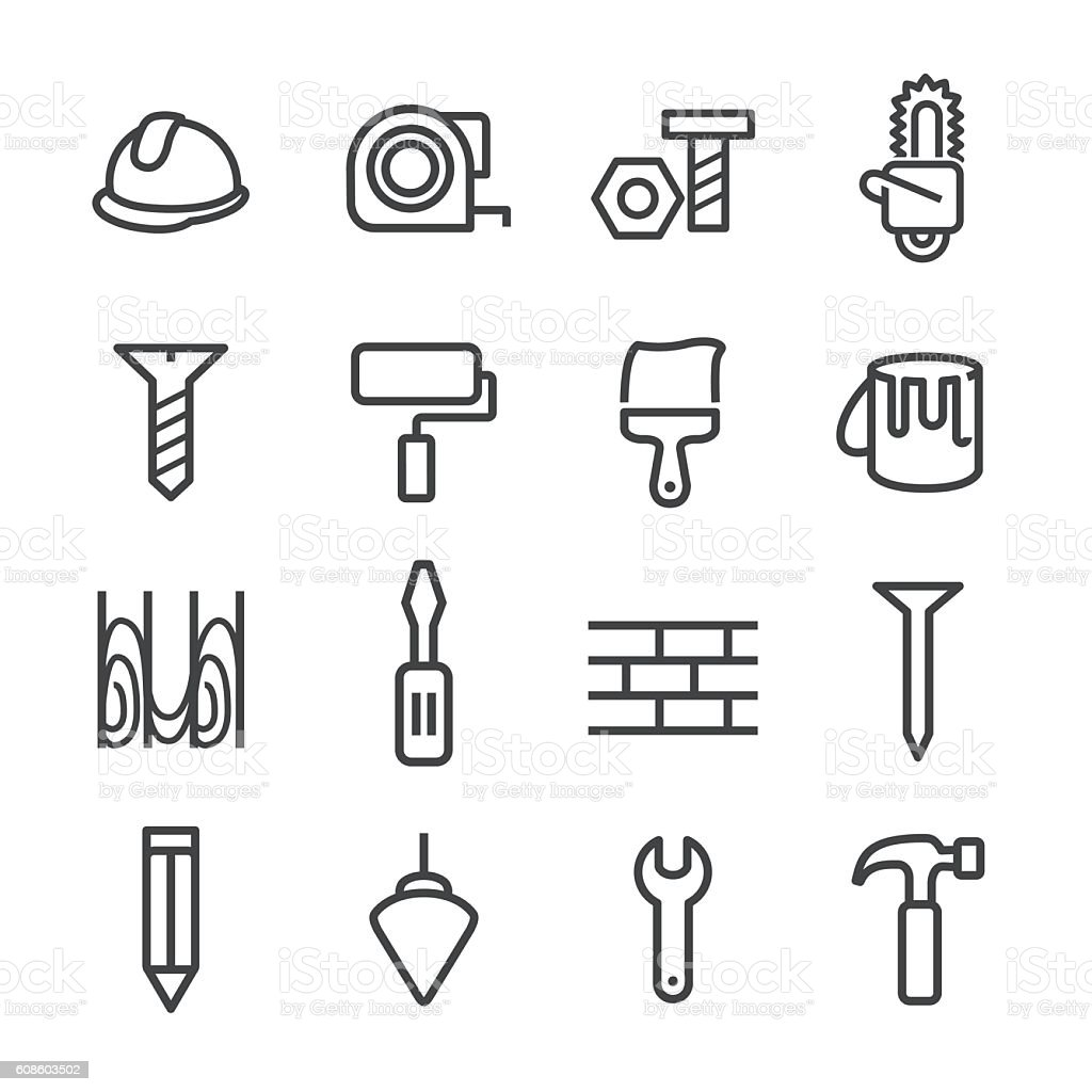 Construction and Tools Icons - Line Series vector art illustration