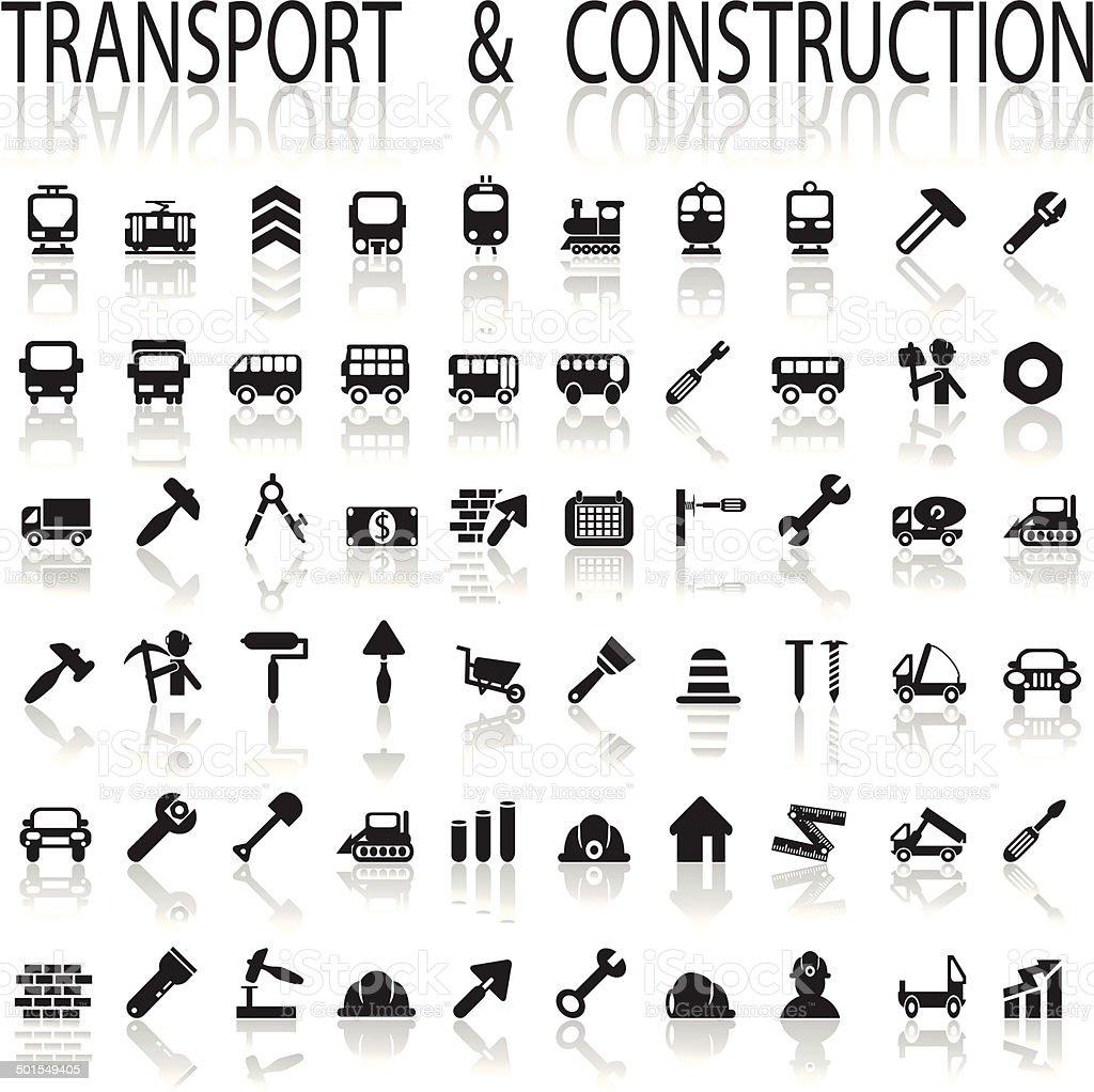 construction and transport vector art illustration