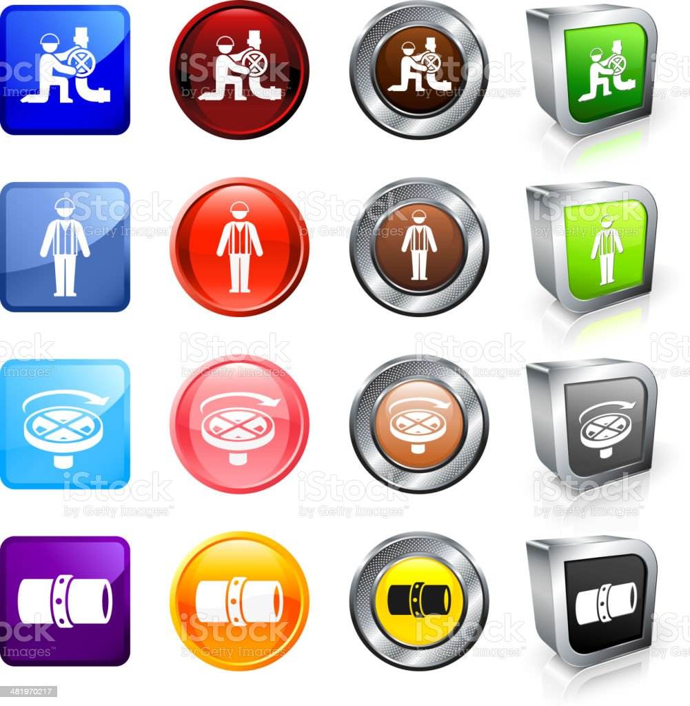 Construction and Welding Labor Workers royalty free vector button set royalty-free stock vector art