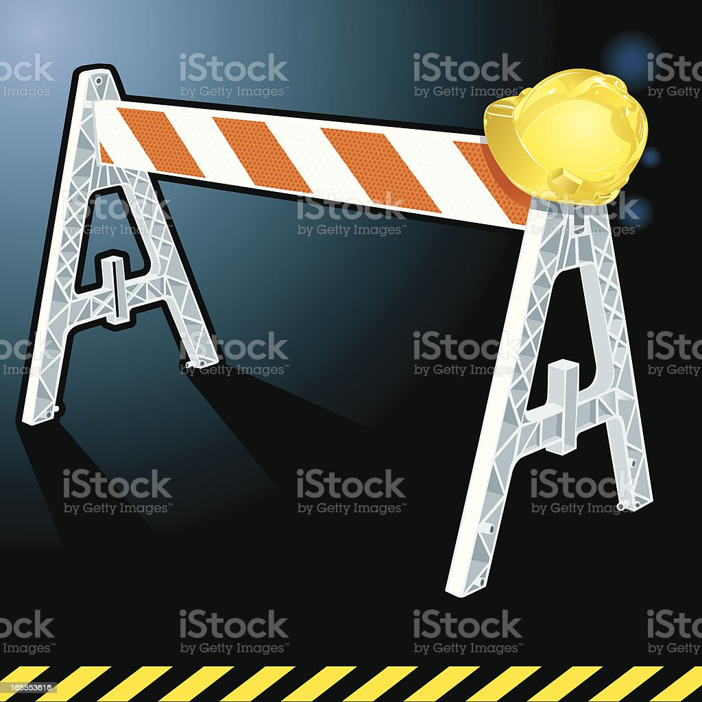 Construction Barrier and Hard Hat royalty-free stock vector art