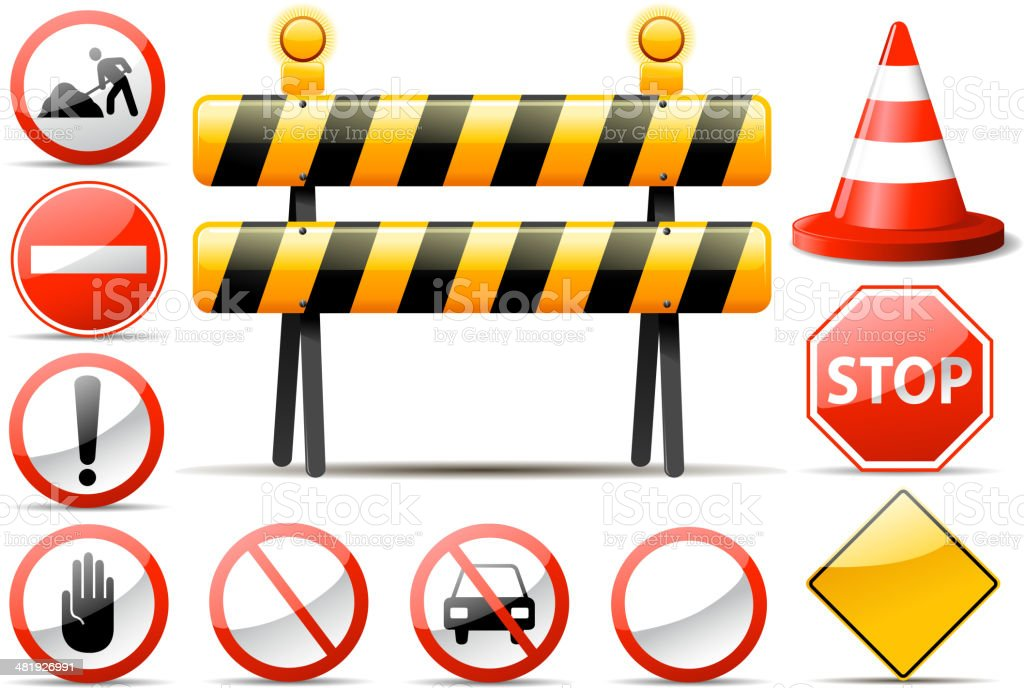 construction barrier symbols royalty-free stock vector art