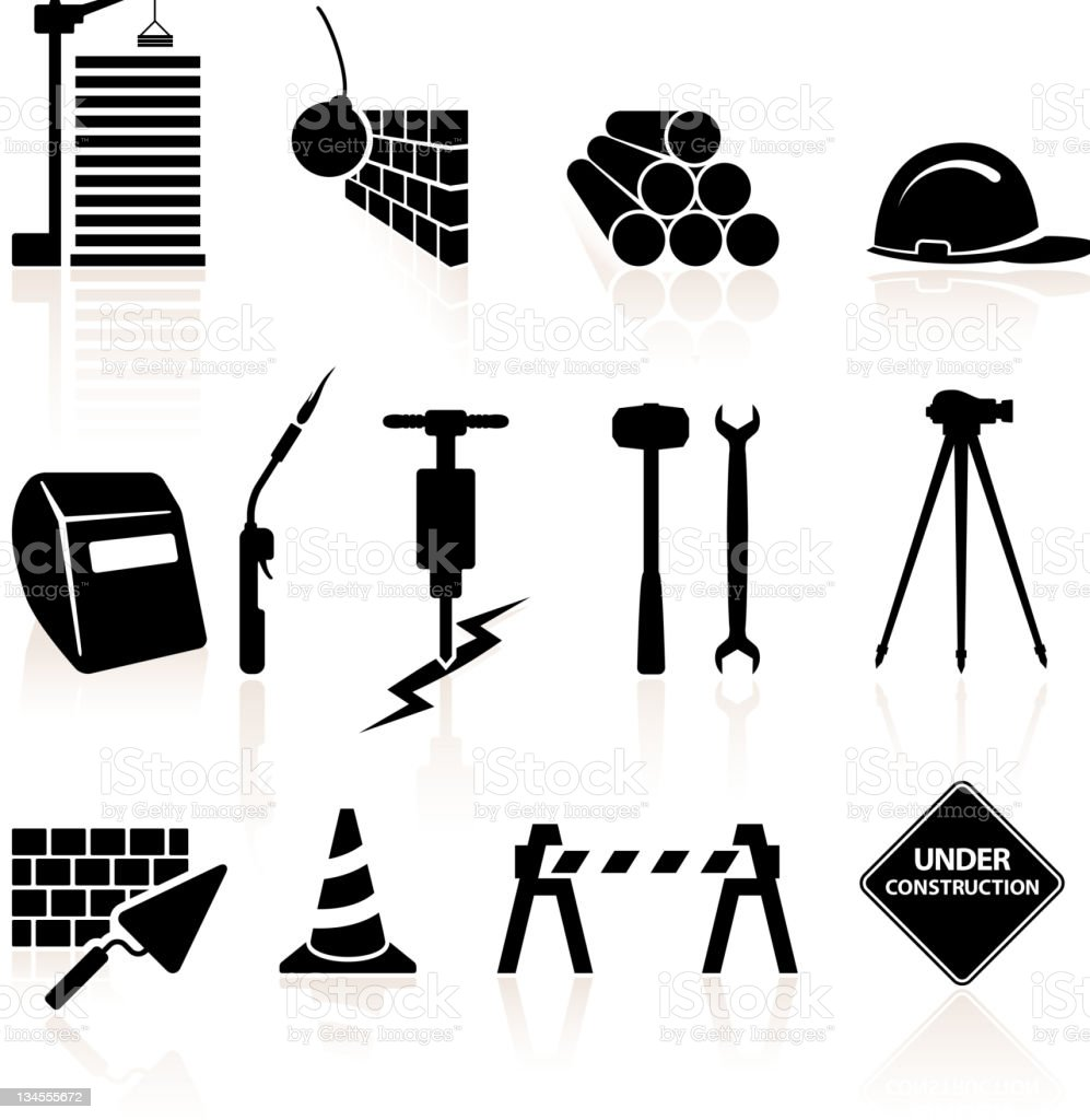 Construction black and white royalty free vector icon set vector art illustration