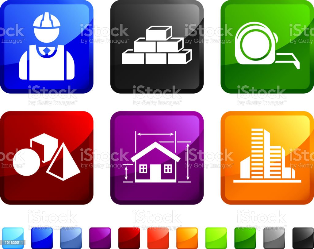 Construction Blueprint royalty free vector icon set stickers royalty-free stock vector art