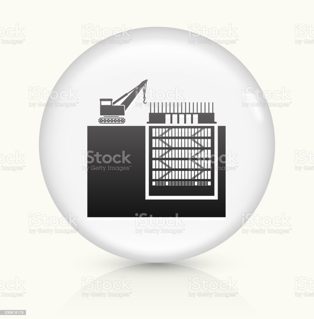 Construction Building icon on white round vector button vector art illustration