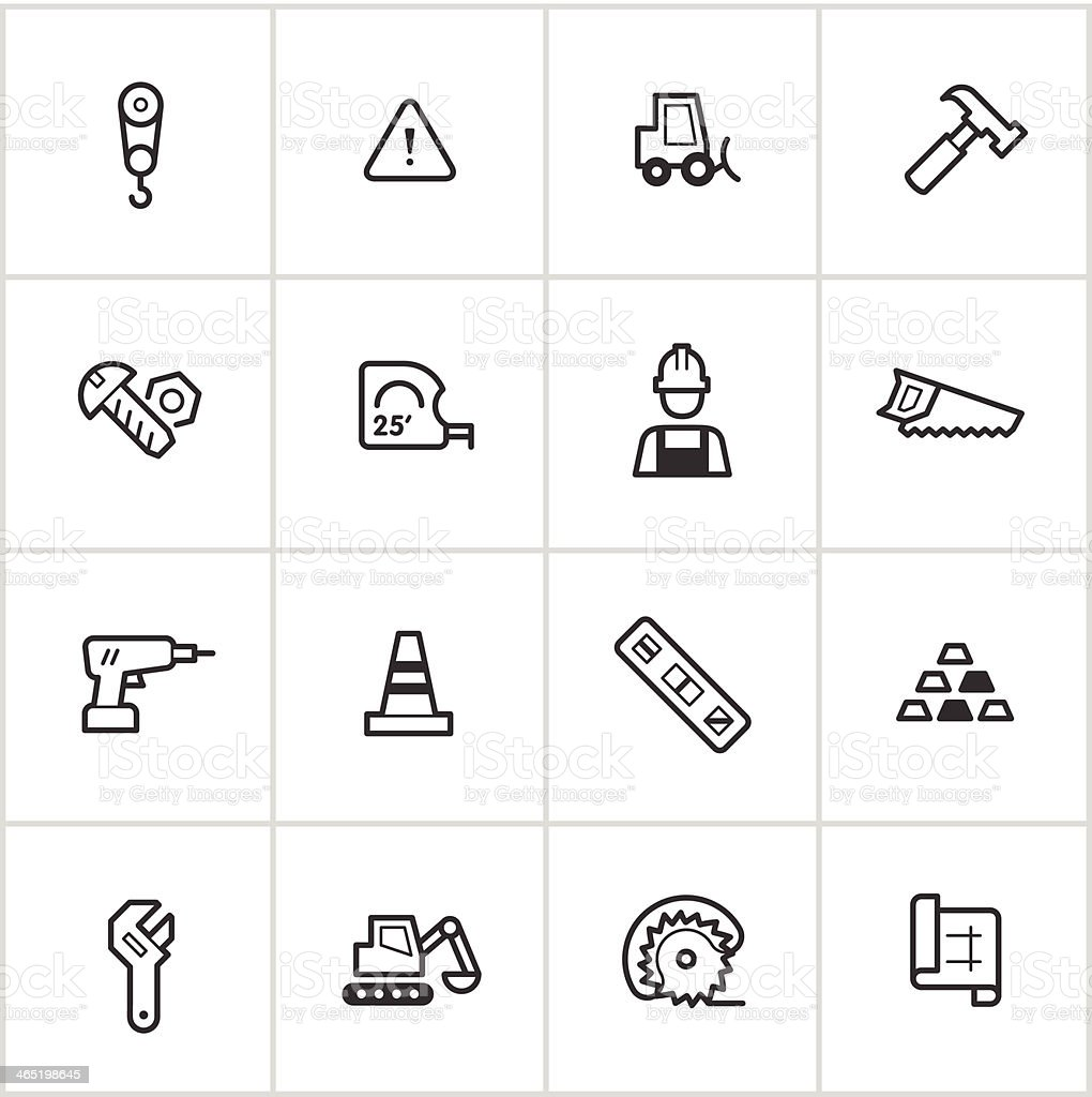 Construction & Building Icons — Inky Series vector art illustration