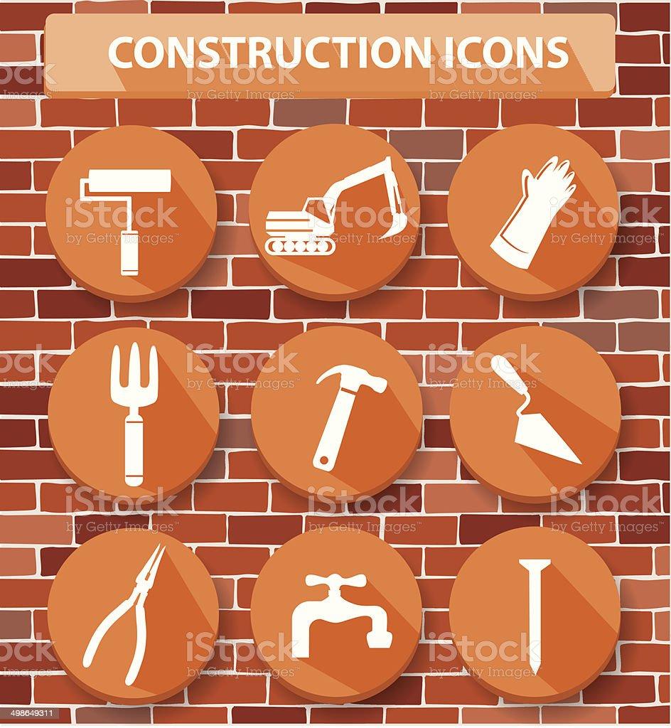 Construction buttons,orange version,vector royalty-free stock vector art
