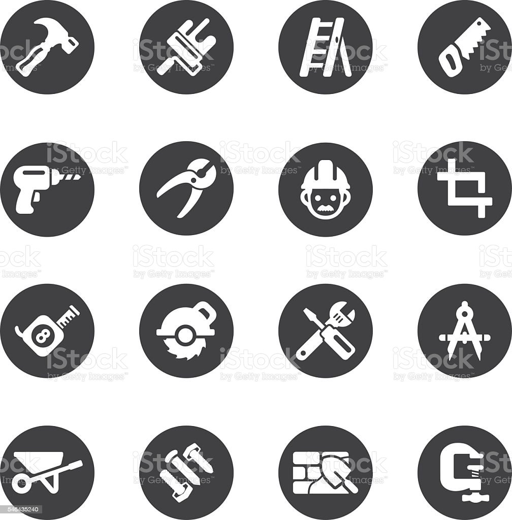 Construction Circle Silhouette icons | EPS10 vector art illustration