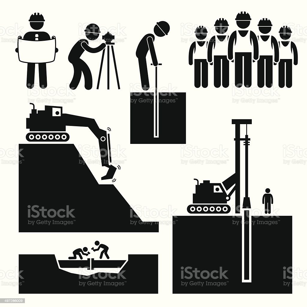 Construction Civil Engineering Earthworks Worker Pictogram Icon Cliparts vector art illustration