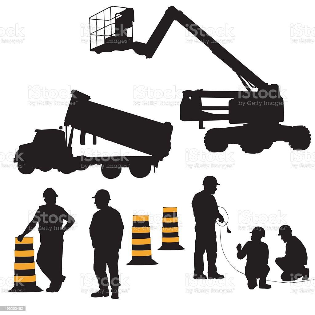 Construction Crew vector art illustration