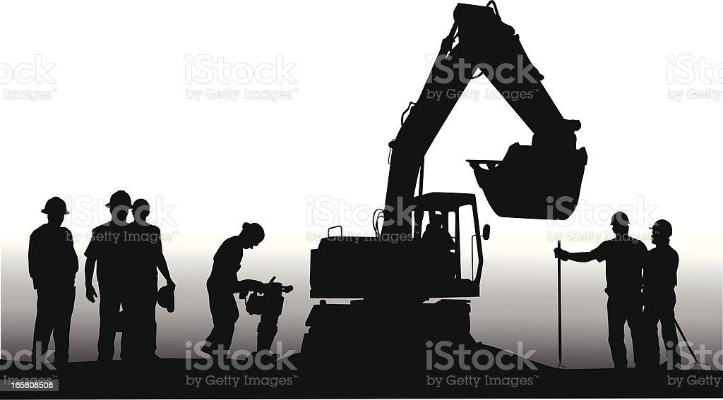 Construction Crew Vector Silhouette royalty-free stock vector art