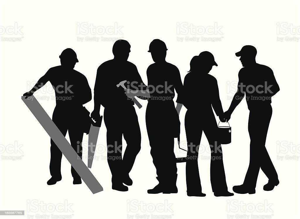 Construction Crowd Vector Silhouette royalty-free stock vector art