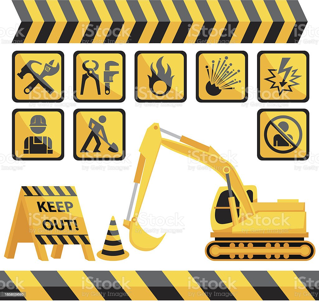 Construction Elements vector art illustration