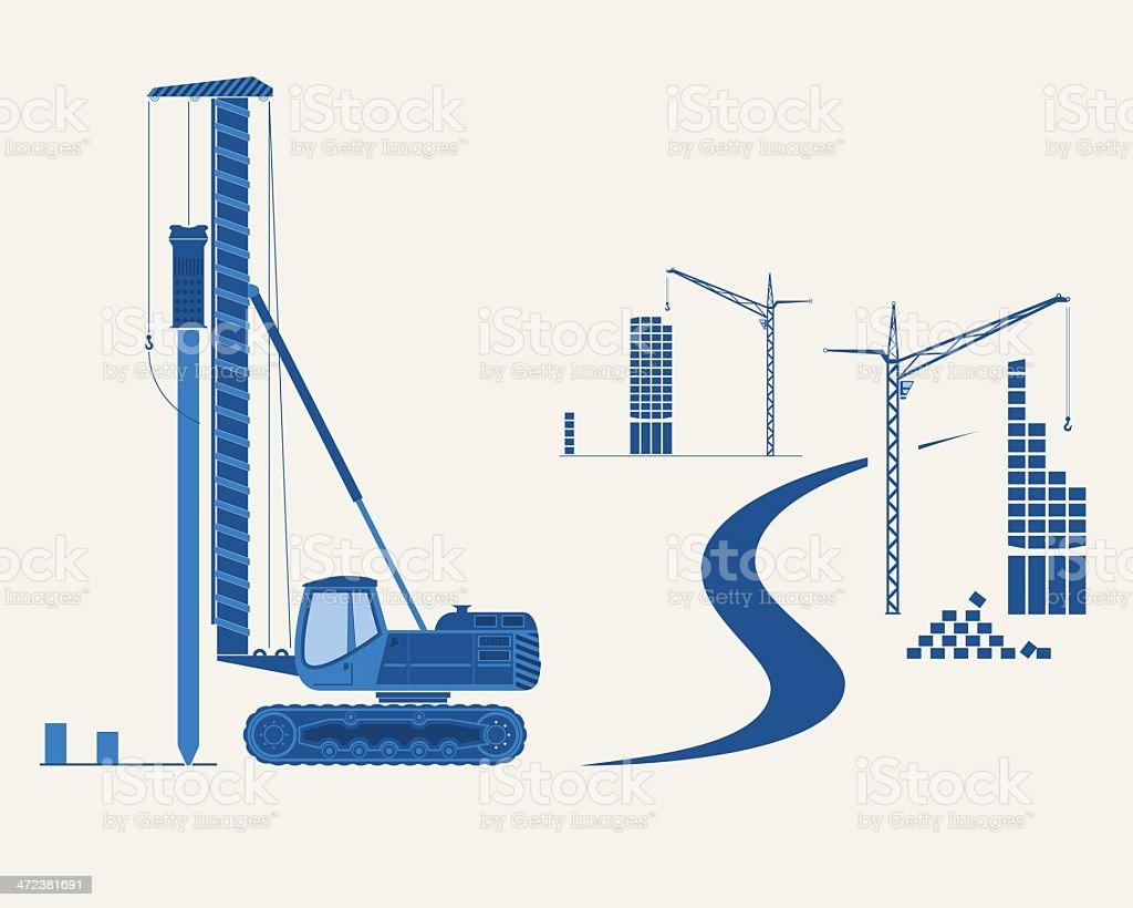 Construction equipment vector art illustration