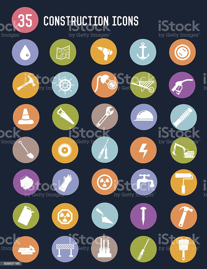 Construction flat icons,colour vector royalty-free stock vector art