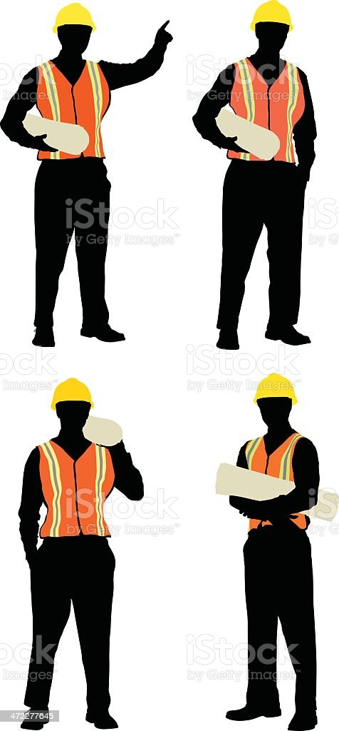 Construction foreman holding plans royalty-free stock vector art