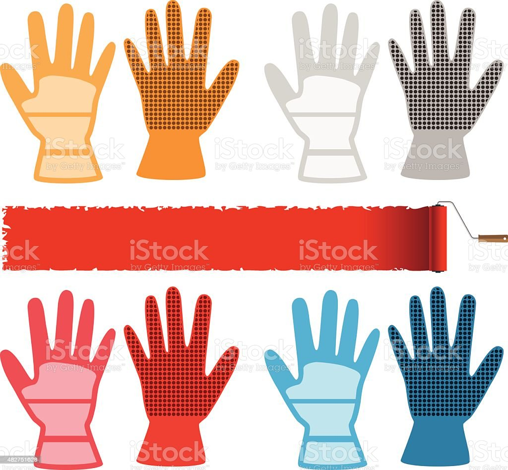 Construction gloves vector art illustration