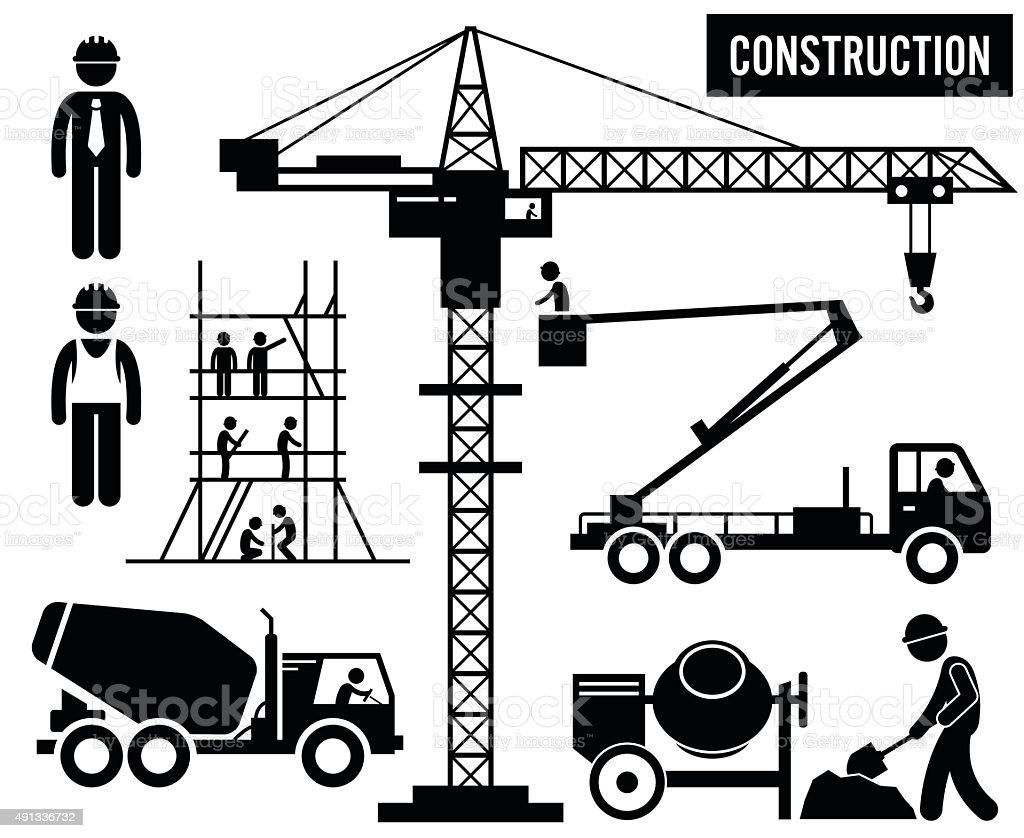 Construction Heavy Industry Equipments Pictogram vector art illustration