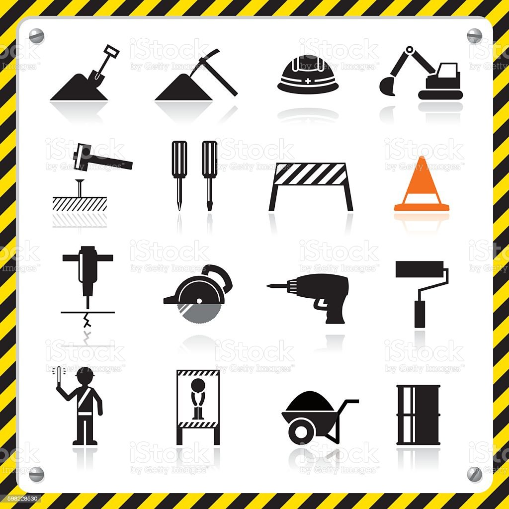 Construction icon vector art illustration