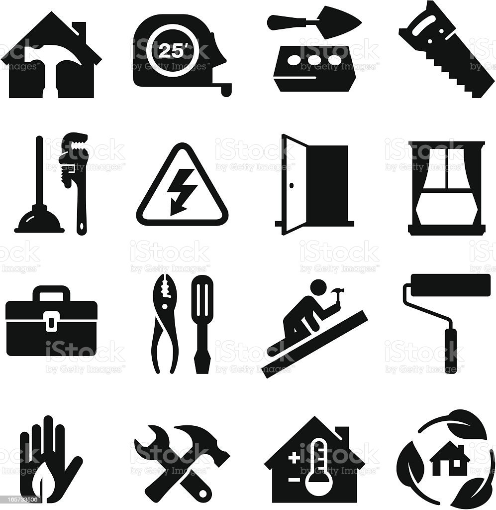 Construction Icons  - Black Series vector art illustration