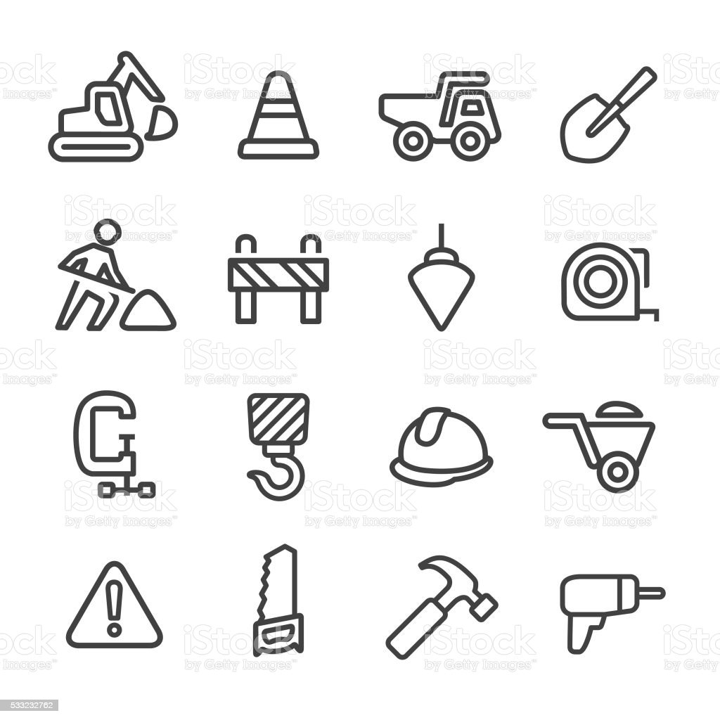 Construction Icons - Line Series vector art illustration