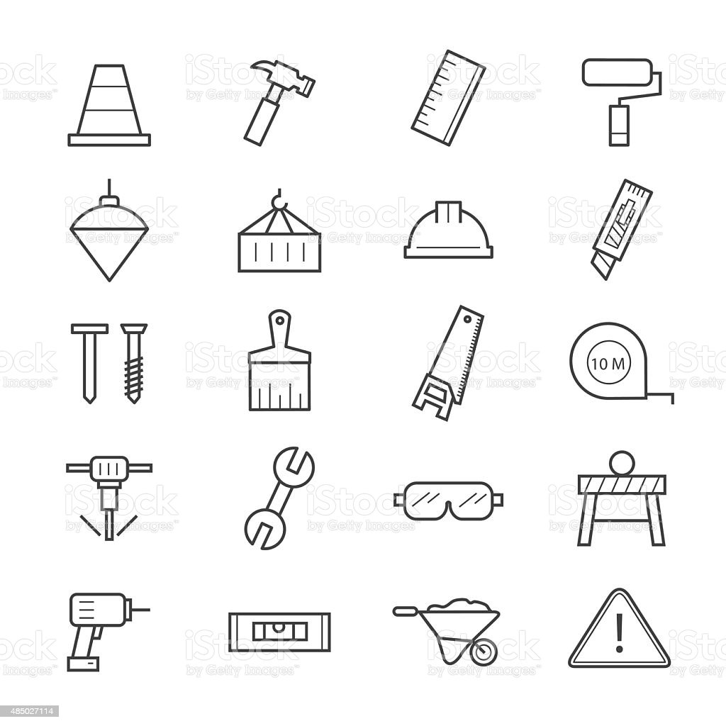 Construction Icons Line vector art illustration