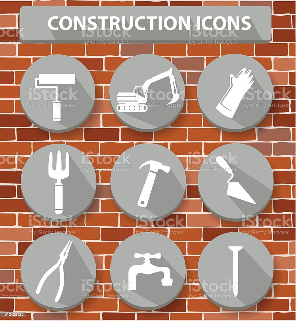 Construction icons on wall background,vector royalty-free stock vector art
