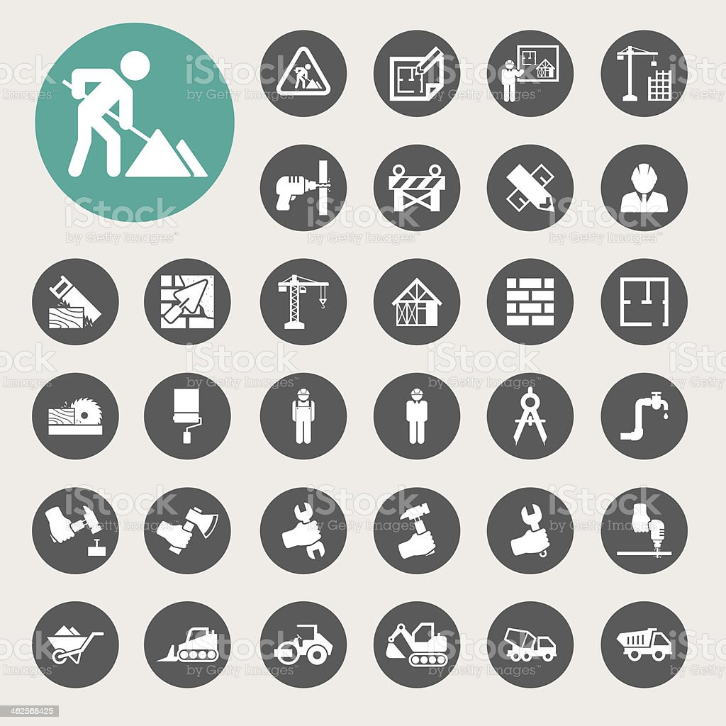 Construction Icons set vector art illustration