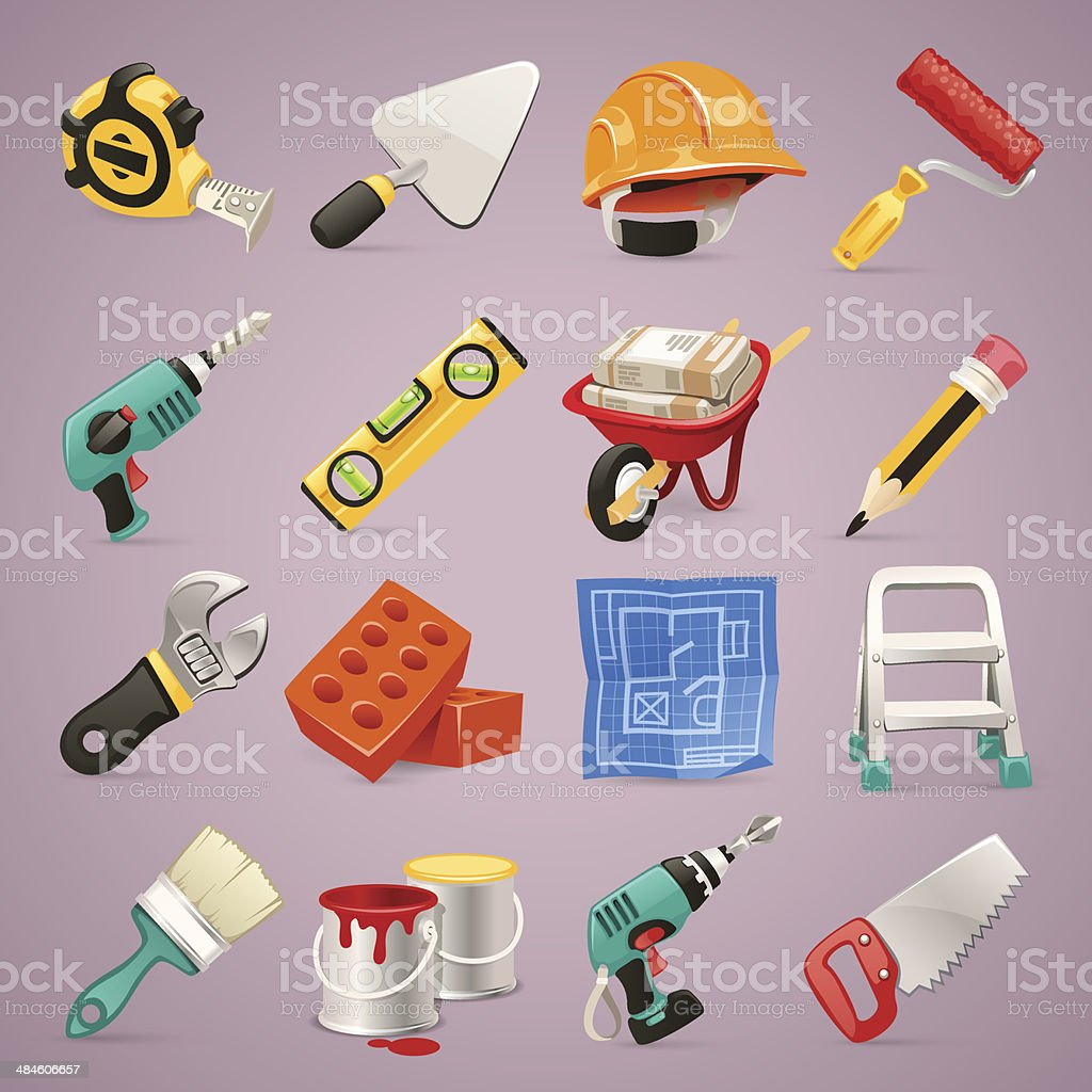 Construction Icons Set1.1 vector art illustration