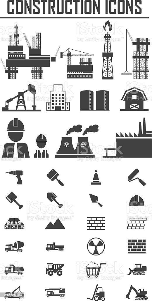 Construction Icons set.Illustration EPS10 vector art illustration