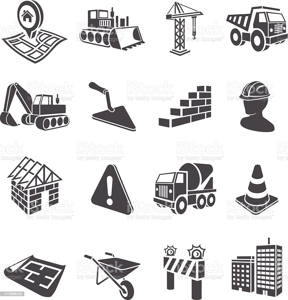 3D Construction Icons vector art illustration