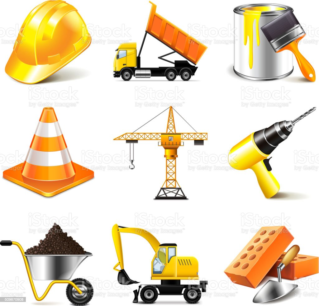 Construction icons vector set vector art illustration