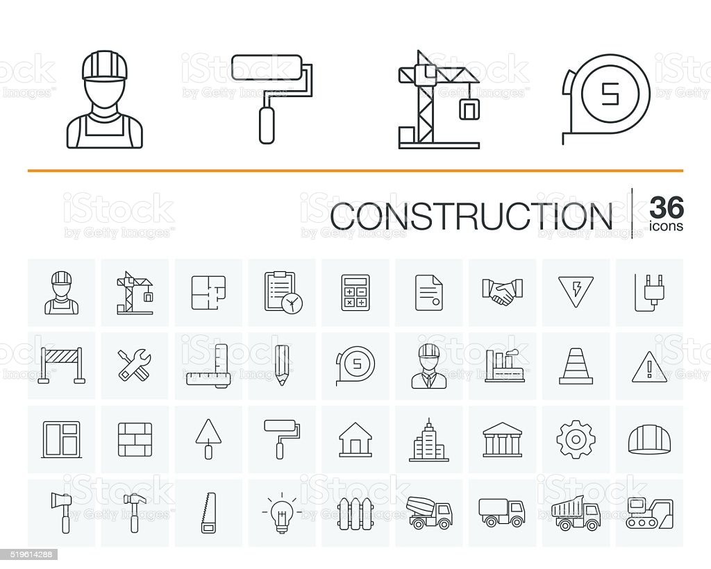 Construction, industrial vector icons vector art illustration