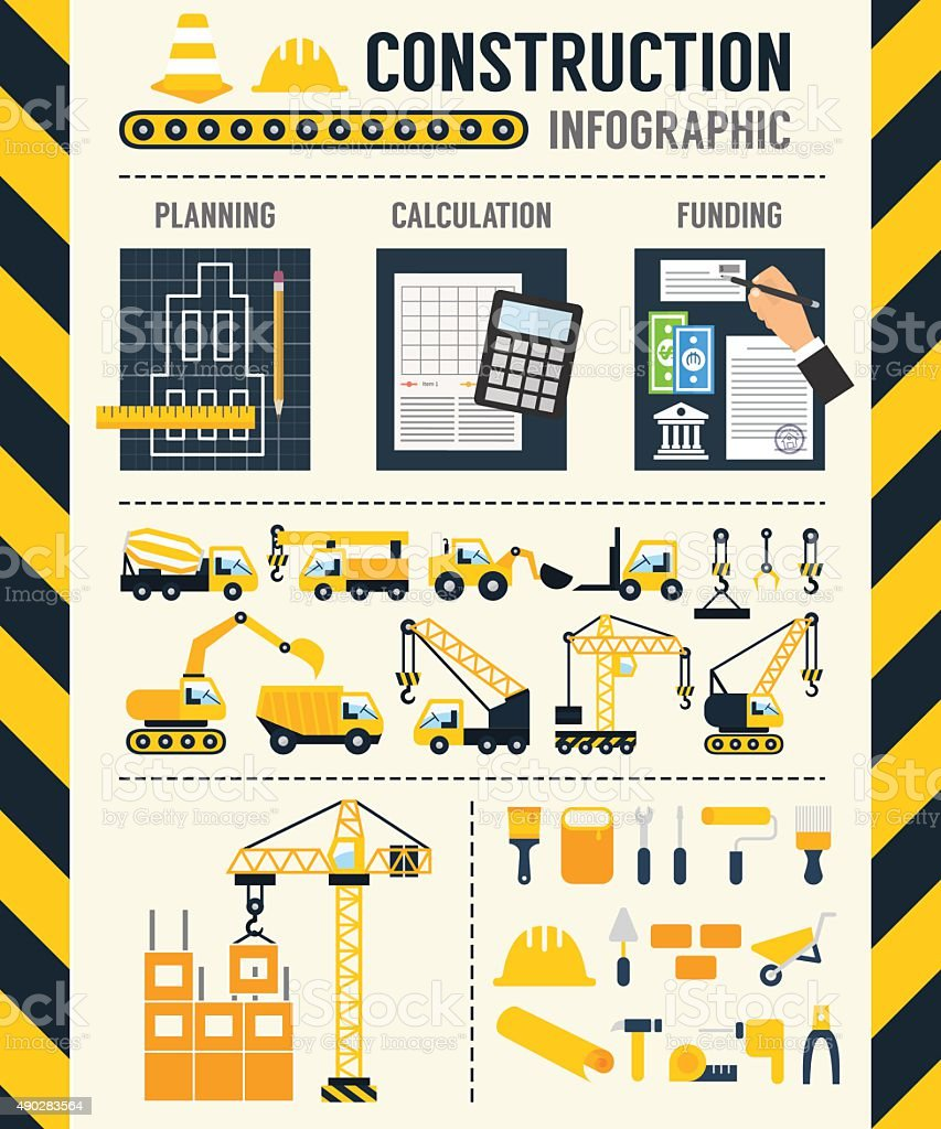 Construction Infographic. Vector template vector art illustration
