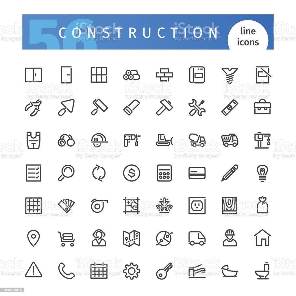 Construction Line Icons Set vector art illustration