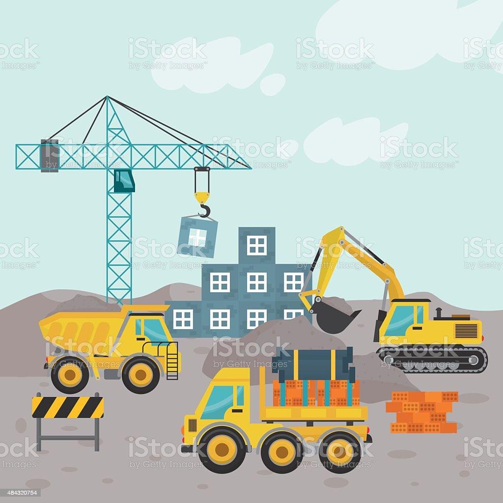Construction machinary design. vector art illustration