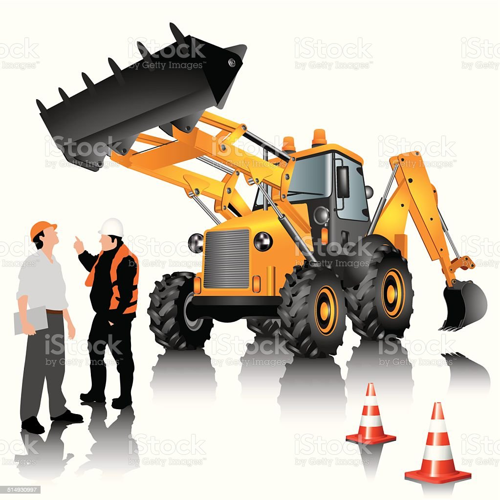 Construction machine vector art illustration